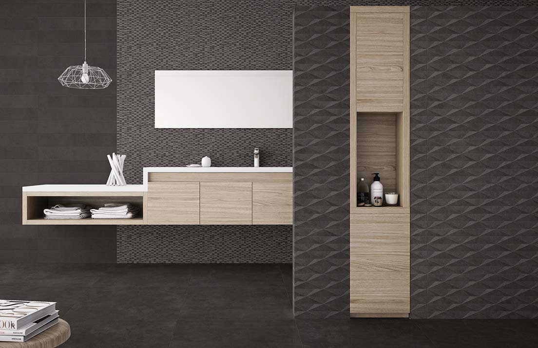 Cubic Black Decor Ceramic Decorative Tile Roomset