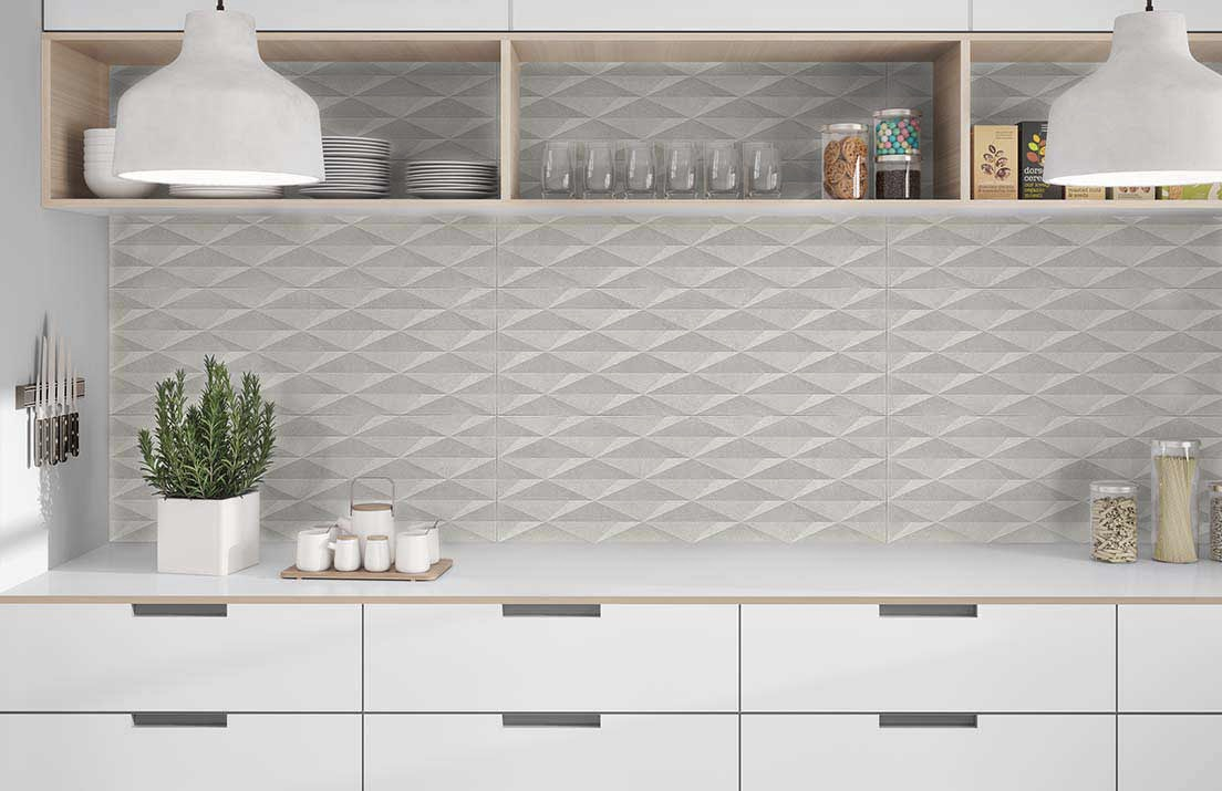 Cubic Gris Decor Ceramic Decorative Tile Roomset