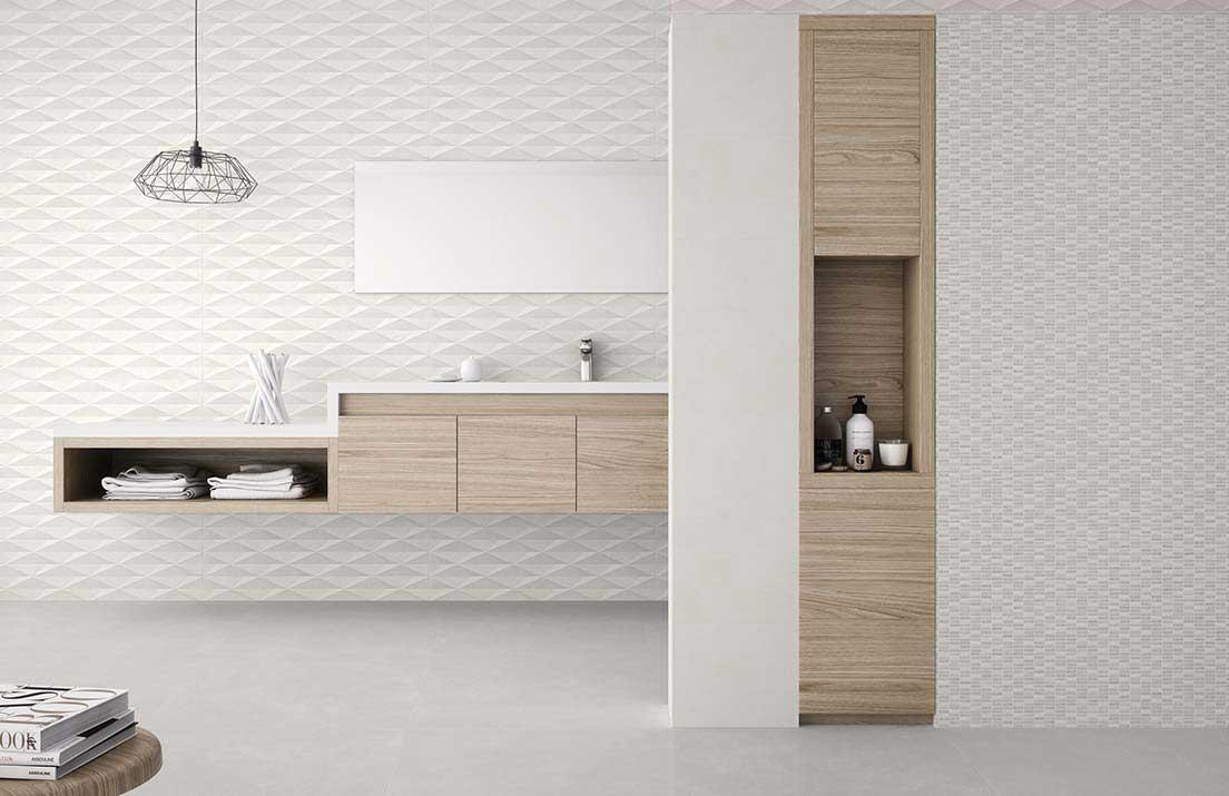 Cubic White Decor Ceramic Decorative Tile Roomset