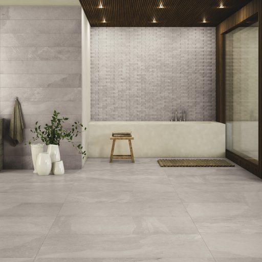 Slide White Stone Effect Rectified Porcelain Tile Roomset