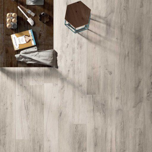 Legend White Wood Effect Porcelain Tile Roomset