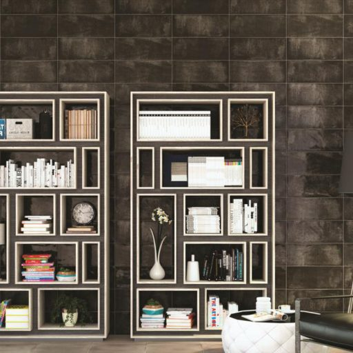 MontBlanc Anthracite Ceramic Rustic Wall Tile Roomset