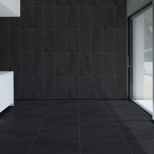 Magma Anthracite Stone Effect Porcelain Tile Roomset