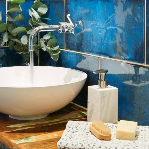 MontBlanc Blue Ceramic Rustic Wall Tile Roomset