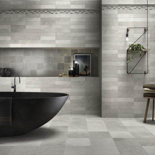 Essential Grey Porcelain Stone Effect Tile Roomset