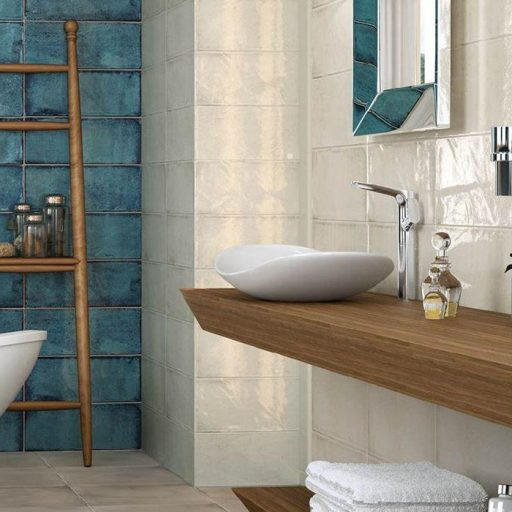 MontBlanc White Ceramic Rustic Wall Tile Roomset