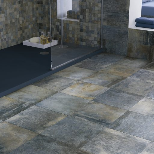 Opus Stone blu Multisize Stone Effect Porcelain Tile Roomset