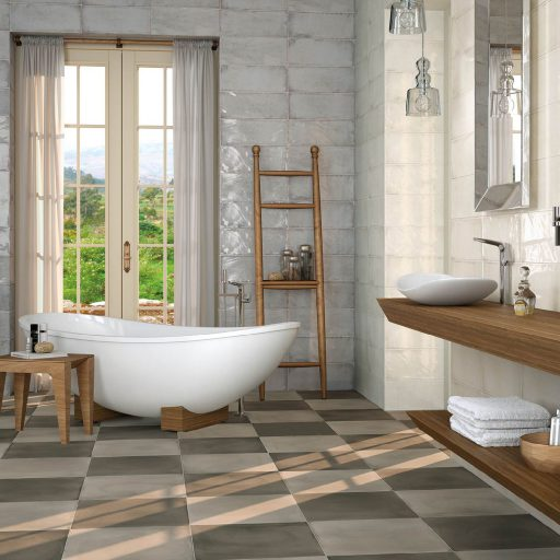 MontBlanc Pearl Ceramic Rustic Wall Tile Roomset
