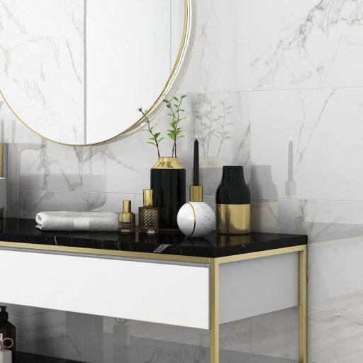 Statuario Polished Porcelain Marble Effect Tile Roomset