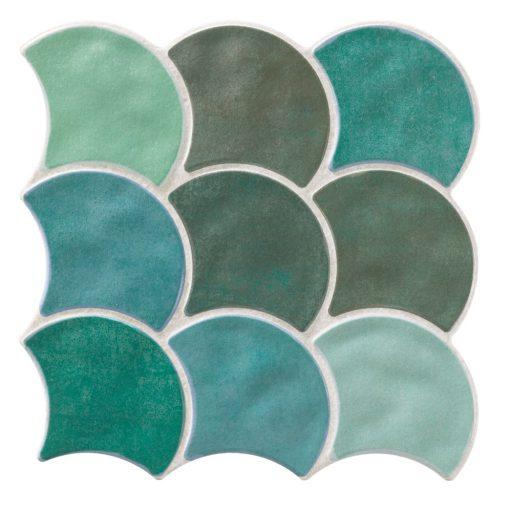 Pettine Aqua Scallop Decor Tiles Porcelain